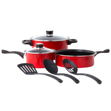 Load image into Gallery viewer, Non Stick Cookware Set - Red Carbon Steel 8 Pcs Stock Pot Utensils Fry Sauce Pan
