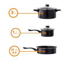 Load image into Gallery viewer, 8 Pc Carbon Steel Non Stick Cookware Set W/Utensils Dutch Oven Fry Sauce Pan - Carbon Steel Cookware Set - Carbon Steel Pans & Pots with Utensils (Black)