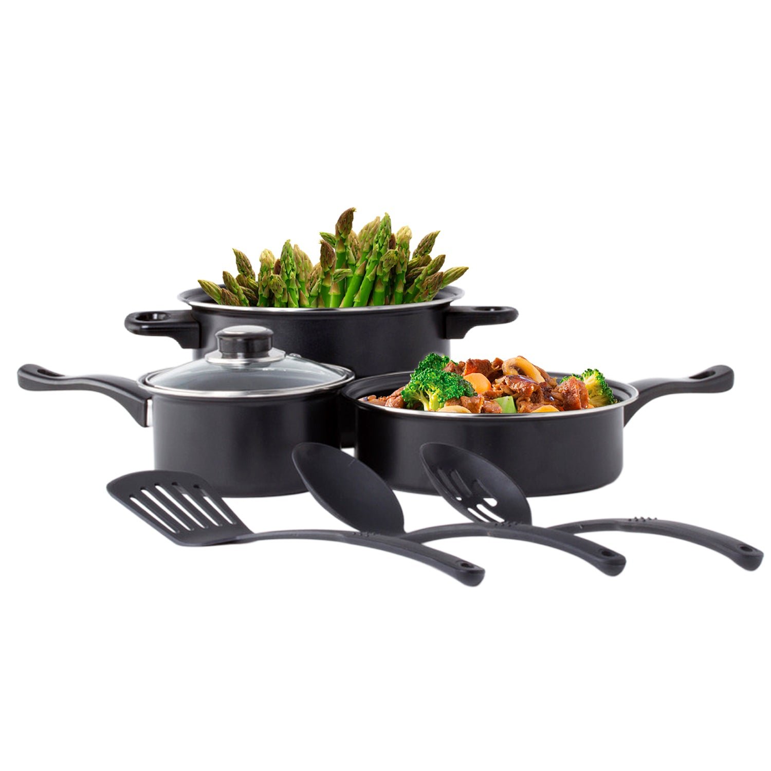 Carbon Steel 8 Pcs. Non Stick Cookware Set W/ Utensils Dutch Oven Fry Sauce Pan