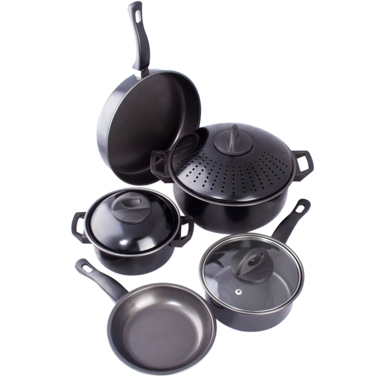 Cookware set Kitchen Pasta Pot W/ Strainer Lid Sauce Frying Pan 8 pcs. Set BLACK