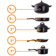 Load image into Gallery viewer, Cookware set Kitchen Pasta Pot W/ Strainer Lid Sauce Frying Pan 8 pcs. Set BLACK