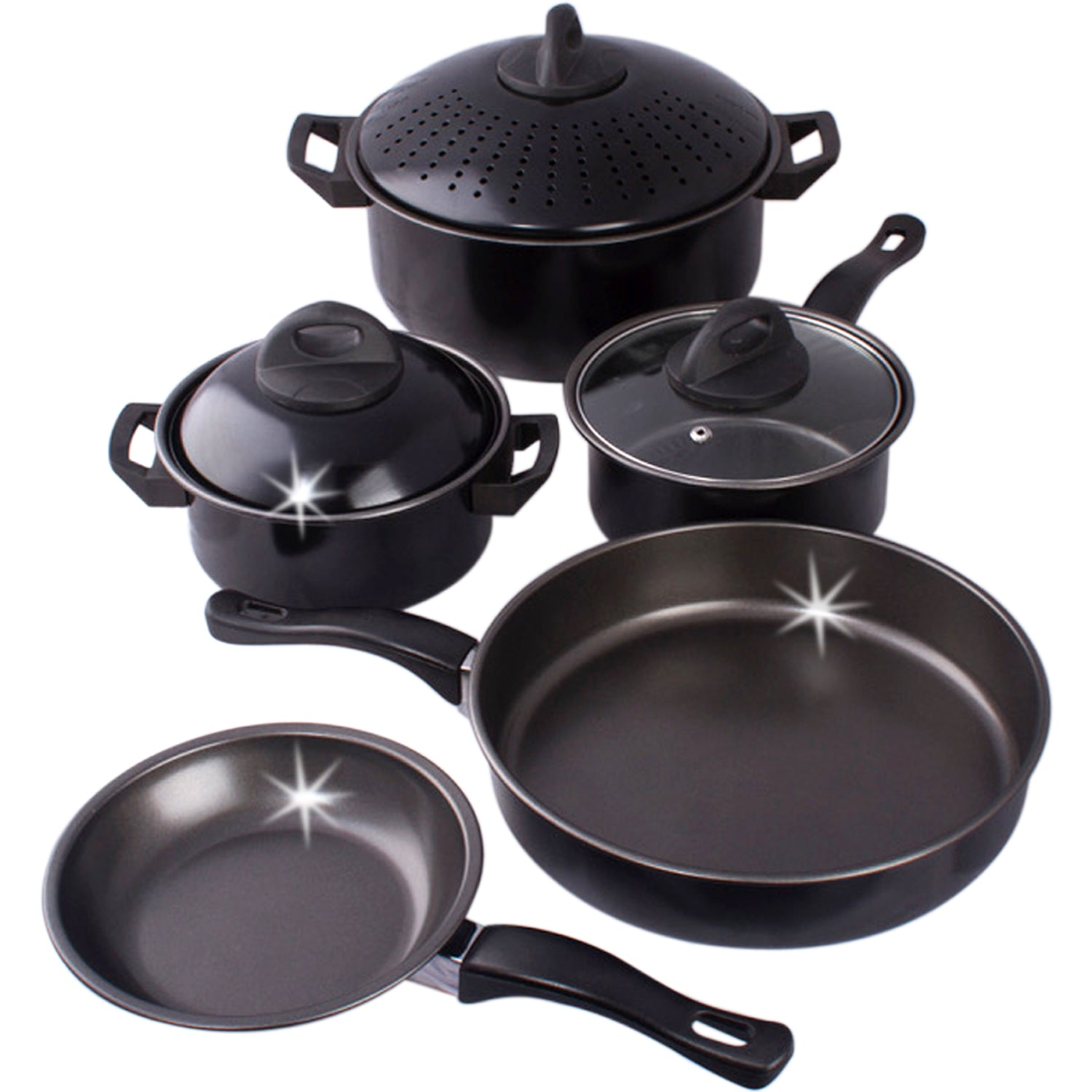 Cookware Set Kitchen Pasta Pot W Strainer Lid Sauce Frying Pan 8 Pcs Set Black