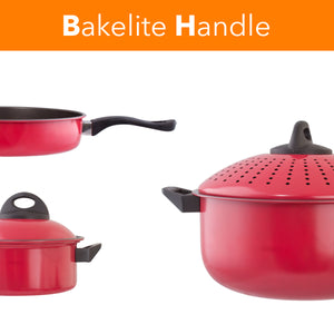 Cookware set Kitchen Pasta Pot With Strainer Lid Sauce Frying Pan 8 pcs. Set Red