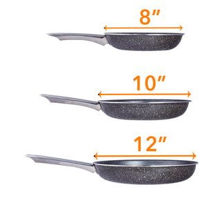 Healthy Marble Non Stick Frying Pan Set, 3 Pcs, Black