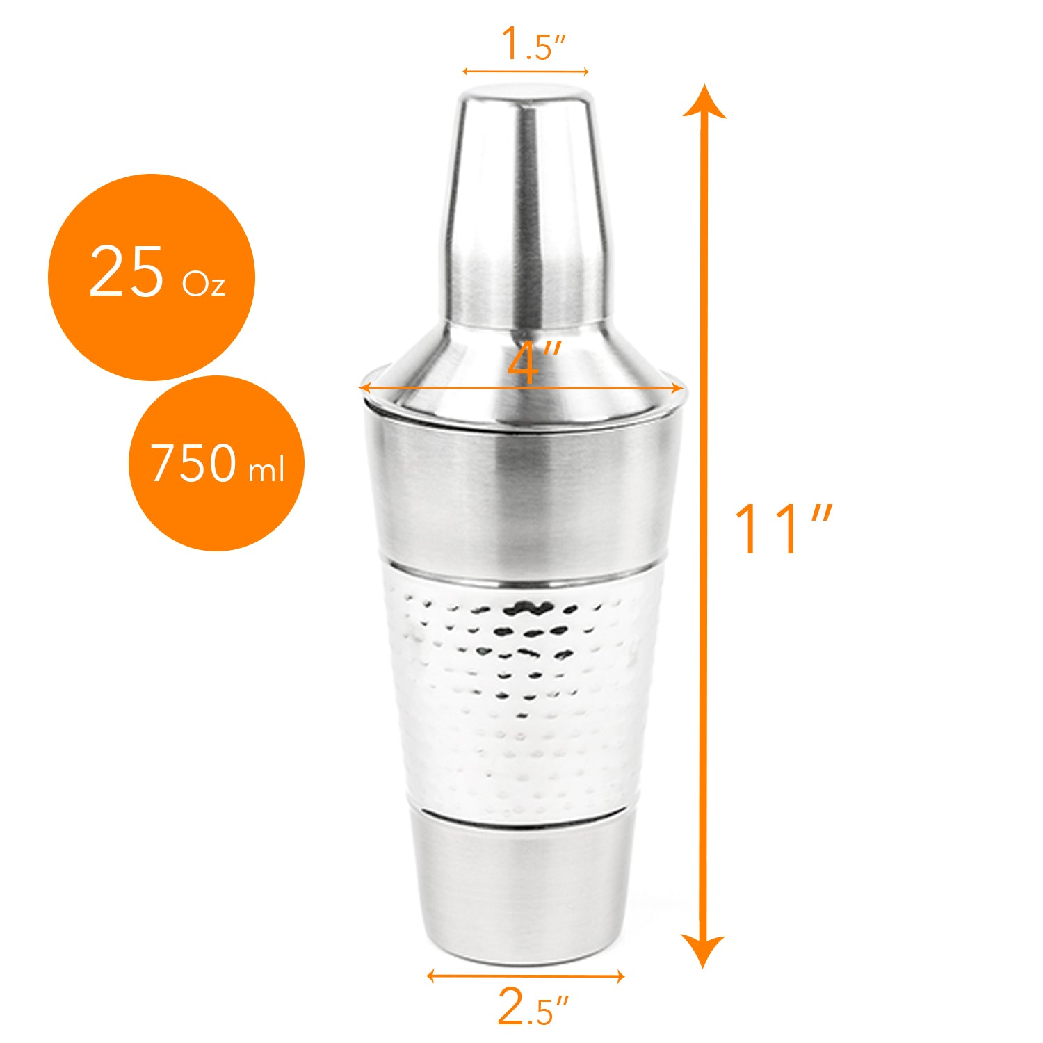 Stainless Steel Cocktail Mixer - Tornado Cocktail Shaker with Jigger Cap and Strainer - 25 Oz