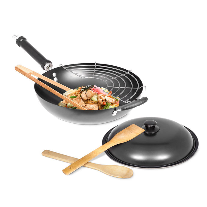 "12"" Carbon Steel Wok with Wok Spatula, Tongs, Spoon, Grill, and Lid – Nonstick Wok with Wok Tools"