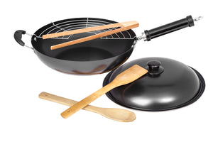 "12"" Carbon Steel Wok with Spatula, Tongs, Spoon, Grill, and Lid – Nonstick Wok with Wok Tools"