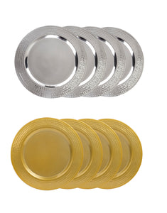 "4 Pack Stainless Steel 13"" Charger Plate - Large Charger Plate Gold / Silver"