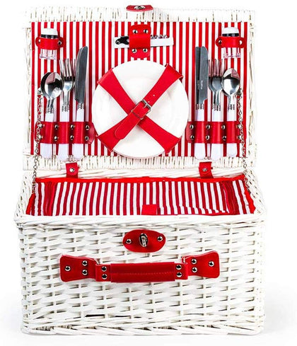 MW - Picnic Basket - 4 Person Red Stripe Print with Cooler Bag ( MW4699 )