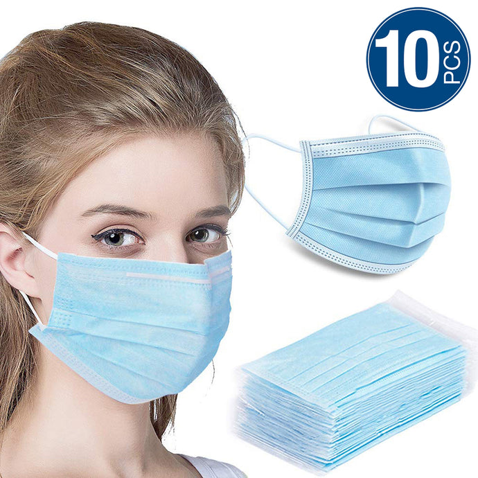 10 PC Blue Non-Woven Disposable Protective Masks - Safe Filter Face Masks for Dust Protection - Anti Pollution Mask - N95 Style Face Masks