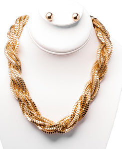 LB Collection - Gold Chain Chunky Necklace and Earring Set (N9935GD)