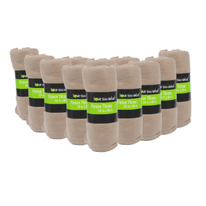 12 Pack of Imperial Home 50 x 60 Inch Ultra Soft Fleece Throw Blanket - Tan