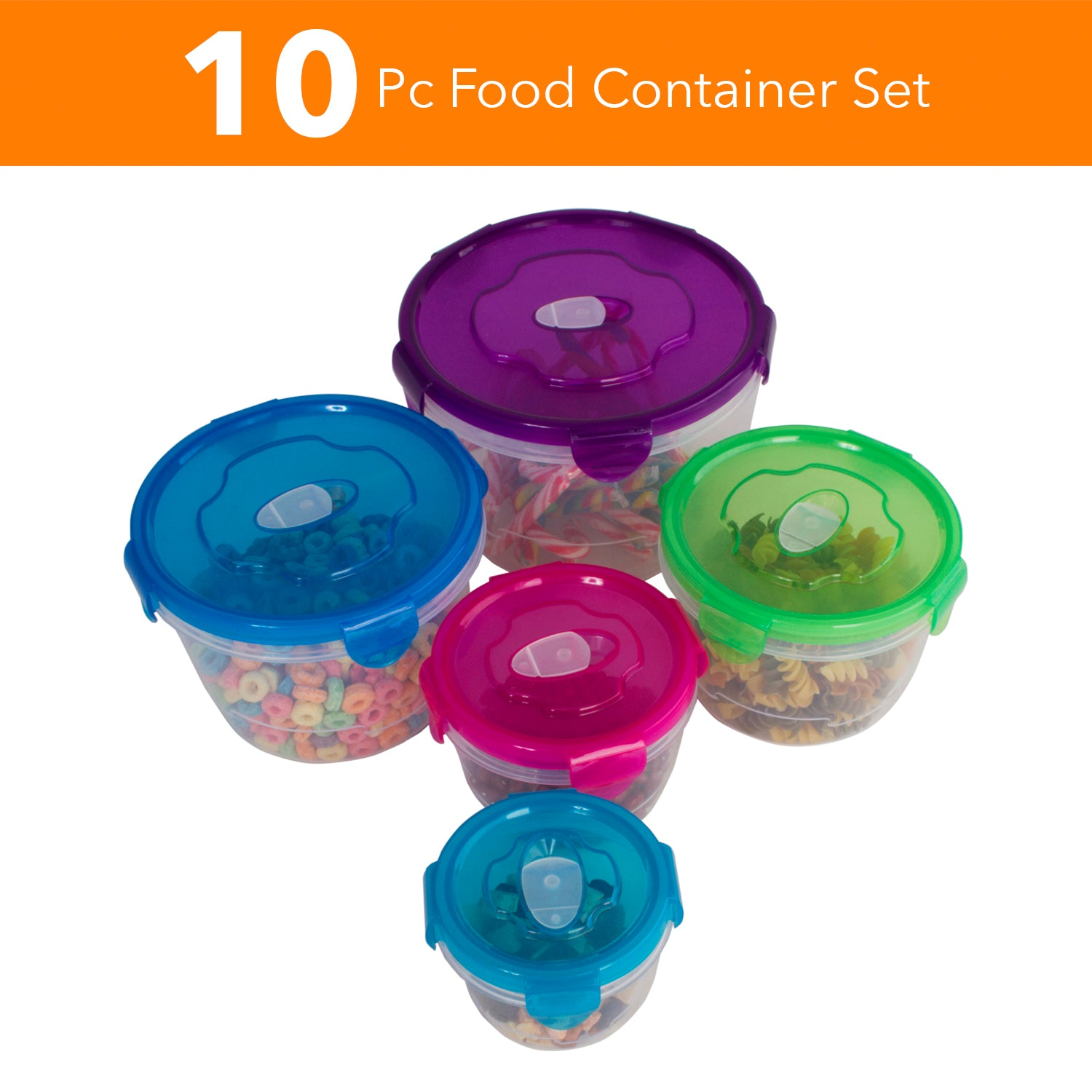 10 Pc Reusable Refrigerator Containers - Freezer Storage Containers - Work Lunch Microwave Containers (Round)