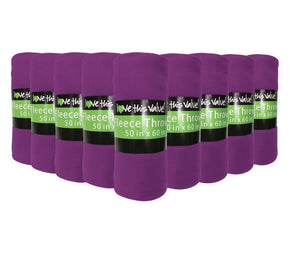 24 Pack of Imperial 50 x 60 Inch Ultra Soft Fleece Throw Blanket - Purple