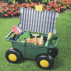 Rolling Garden Seat Storage Bin Portable Garden Seat Storage With Locking Lid