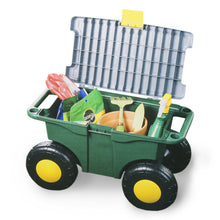 Load image into Gallery viewer, Rolling Garden Seat Storage Bin Portable Garden Seat Storage With Locking Lid