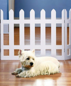 "42"" White Picket Freestanding Pet Gate – Wood Dog Gates Indoor – Dog Fence"