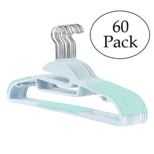 Load image into Gallery viewer, 30 Pack Non Slip Wrinkle Free Thin Plastic Clothes Hanger Teal & Grey