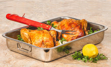 "Load image into Gallery viewer, Roasting Pan - Heavy Duty Stainless Steel 16"" Lasagna Turkey Roaster Pan W/ Rack"