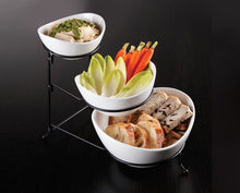 Load image into Gallery viewer, Ceramic 3 Tier Serving Bowls - Oval Serving Bowl With Stand