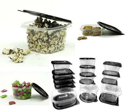 30 Piece Plastic Food Container Set - 15 Plastic Storage Containers with Black Lids