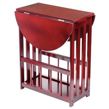 Load image into Gallery viewer, Cherry Finished Wood Drop Leaf Table - Wooden End Table Magazine Rack Table
