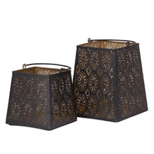 Load image into Gallery viewer, Decorative Flower Cut Metal Lantern Set - Sets of 2 Candle Holder
