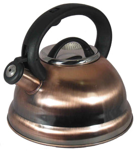 Antique Copper Stainless Steel Whistling Tea Kettle Tea Maker Pot 3 Quarts 2.8 L