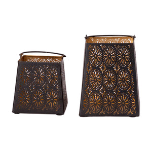 Decorative Flower Cut Metal Lantern Set - Sets of 2 Candle Holder