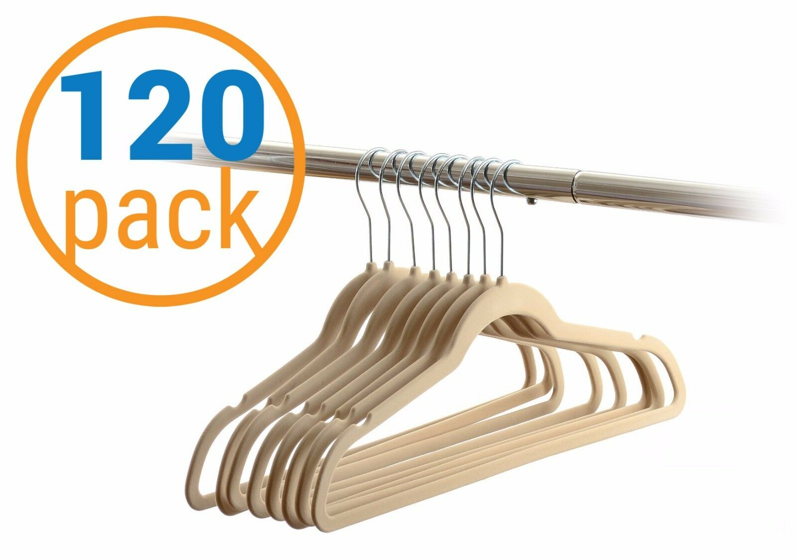 210 Value Pack Velvet Heavy Duty Non Slip Wrinkle Free Hanger Beige