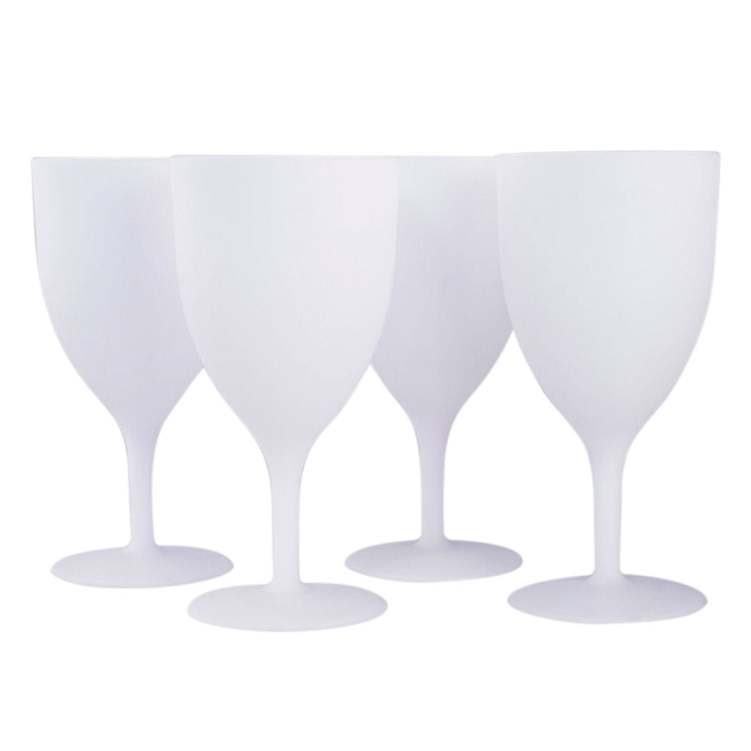 4 Pcs Reusable Picnic Goblets Set - Plastic Wine Cups - White