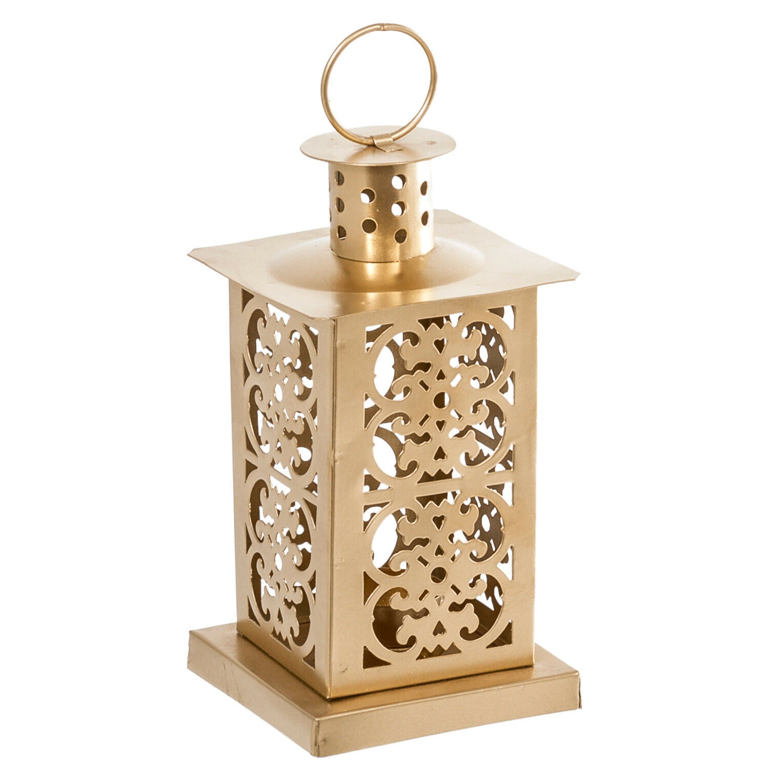 Metal Gold Moroccan Lantern Candle Holder - Tea Light Candle Holder