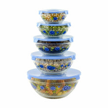 Load image into Gallery viewer, 10 Pcs Glass Lunch Bowls Food Storage Containers Set With Lids & Flower Design