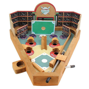 Classic Wooden Tabletop Pinball Machine - Wood Baseball Game