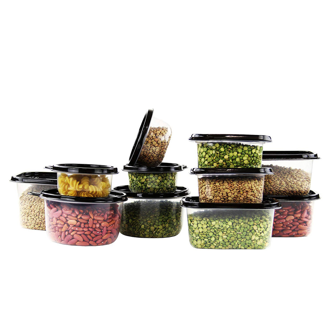Imperial Home Reusable Plastic Food Containers/Storage and Lunchboxes in Set of 42 with Black Lids