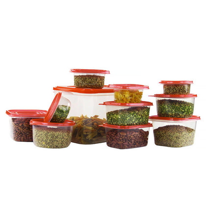 eusable Plastic Food Containers Set W/ Air Tight Red Lids - 42 Storage Boxes