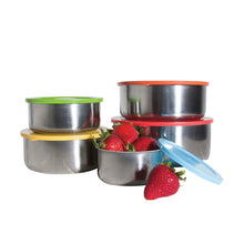 Load image into Gallery viewer, 10 Pcs Stainless Steel Mixing Bowls or Food Storage Containers Set with Colored Lids