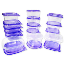 Load image into Gallery viewer, 30 Piece Plastic Food Container Set - 15 Plastic Storage Containers with Purple Lids