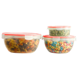 6 Pcs Plastic Round Food Storage Containers Set With Air Tight Locking Lids