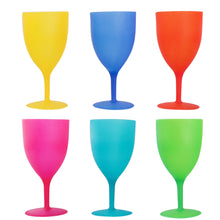 Load image into Gallery viewer, Colorful Reusable Plastic Picnic Goblets Wine Glasses Set Assorted Color 6 Pack