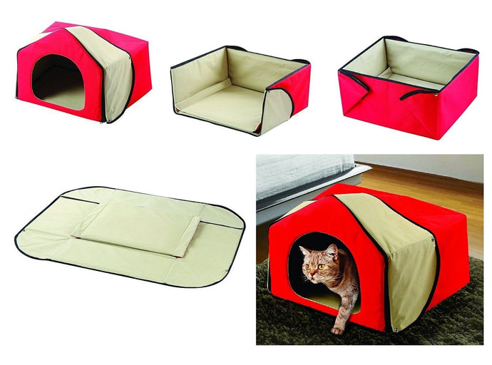 Convertible 4 in 1 Pet Bed House Cozy Lounge Mat - Cat Dog Portable House