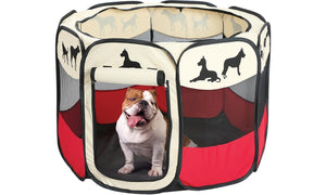 Portable Large Outdoor Indoor Puppy Dog Pen - Dog Silhouettes Print Dog Playpen
