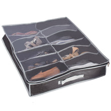 Load image into Gallery viewer, Heavy Duty 12 Pair Shoes Organizer Under Bed Shoe Storage - Black