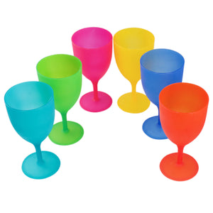 Colorful Reusable Plastic Picnic Goblets Wine Glasses Set Assorted Color 6 Pack