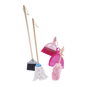 Kids Cleaning Play Set - 6 pcs. Clean Up Play Set With Wooden Handle