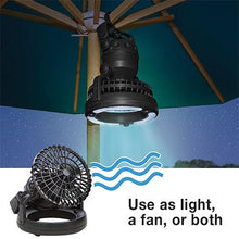 Load image into Gallery viewer, Camping Lantern and Ceiling Fan Combo Set - 18 LED Ceiling Tent Fan W/ LED Light