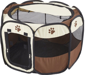 Portable Dog Pen – Outdoor & Indoor Puppy Pen – Paw Print Dog Playpen