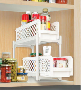 Kitchen Bathroom Plastic 2 Tier Basket Organizer Storage