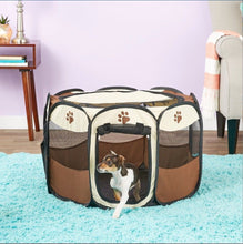 Load image into Gallery viewer, Portable Dog Pen – Outdoor & Indoor Puppy Pen – Paw Print Dog Playpen