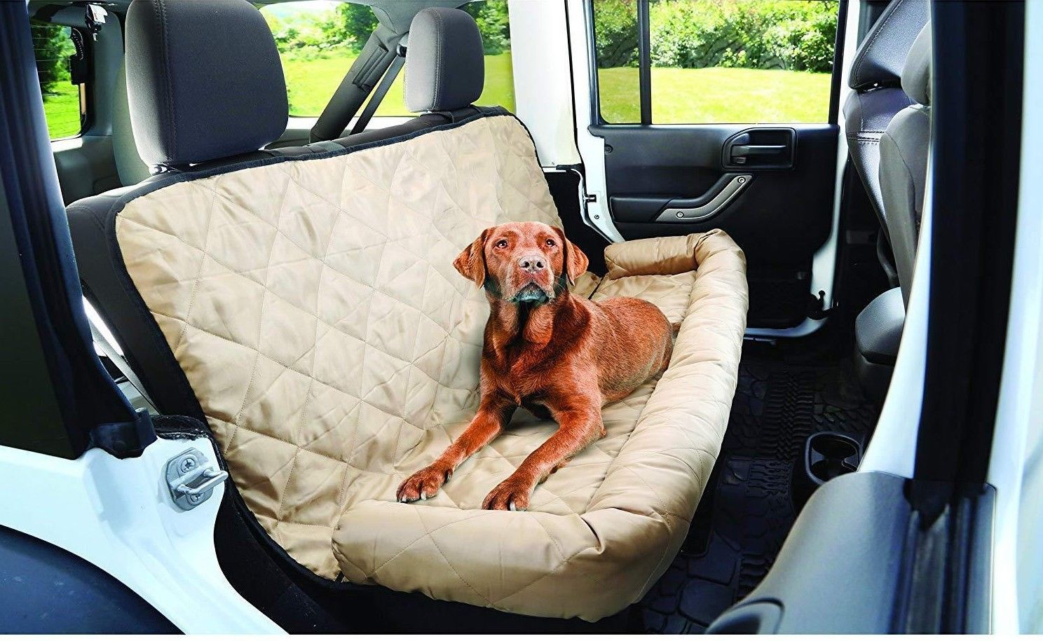 Quilted Comfy Dog Car Seat Covers - Light Brown Car Seat Cover for Dogs